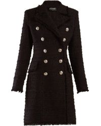 Balmain - Double Breasted Tweed Coat - Lyst