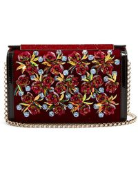 Christian Louboutin - Vanite Flower-embroidered Velvet Clutch - Lyst