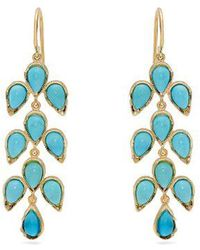 Irene Neuwirth - Gold, Diamond & Kingman Turquoise Earrings - Lyst