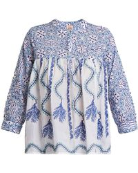 Le Sirenuse - Kantha-shell-print V-neck Cotton Shirt - Lyst