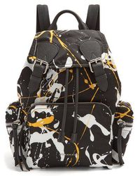 Burberry - Paint-effect Leather-trimmed Backpack - Lyst