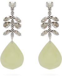 Isabel Marant - Crystal Embellished Silver Plated Drop Earrings - Lyst