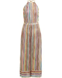 Missoni - Striped Knitted Mesh Halter Jumpsuit - Lyst