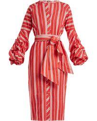 Johanna Ortiz - Striped Balloon Sleeve Linen Dress - Lyst