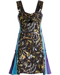 Peter Pilotto - Contrast Panel Embroidered Jacquard Mini Dress - Lyst