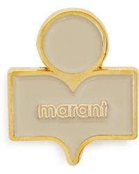 Isabel Marant - Logo Embellished Gold Tone Brass Brooch - Lyst