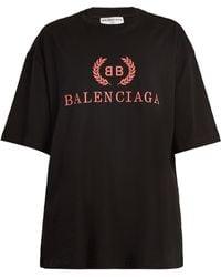 Balenciaga   Crest-print Cotton T-shirt   Lyst
