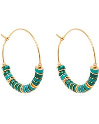Elise Tsikis - Beaded Turquoise And Gold Plated Hoop Earrings - Lyst