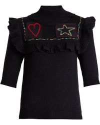 Valentino - Embroidered-patch Wool Jumper - Lyst