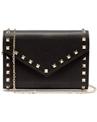 Valentino - Rockstud Leather Envelope Clutch - Lyst