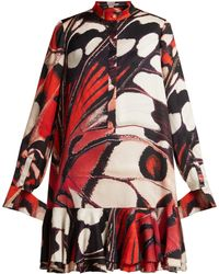 Alexander McQueen - Butterfly-print Silk-satin Mini Dress - Lyst