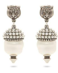 Gucci - Feline Faux-pearl Clip-on Earrings - Lyst