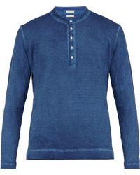 Massimo Alba - Garment Dyed Long Sleeved Cotton Henley T Shirt - Lyst