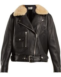 Acne Studios - Shearling Collar Leather Biker Jacket - Lyst