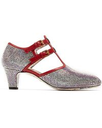 Gucci - Crystal-embellished Leather Court Shoes - Lyst