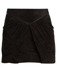 Saint Laurent - Pleat-detail Suede Mini Skirt - Lyst