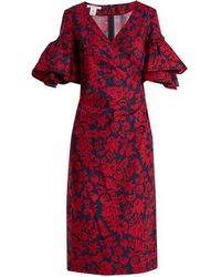 Oscar de la Renta - Decorative Floral-print Cotton-blend Poplin Dress - Lyst