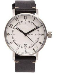 Bravur - Bw001 Stainless-steel And Grained-leather Watch - Lyst
