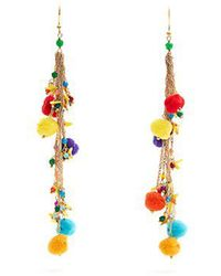 Rosantica By Michela Panero - Cancun Multi-stone And Pompom Earrings - Lyst