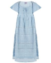 Thierry Colson - Raffia Ruched Cotton-blend Voile Dress - Lyst