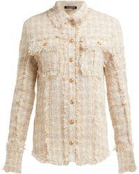 Balmain - Fringed Tweed Safari Shirt Jacket - Lyst