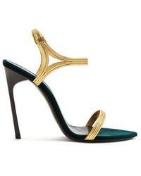 Saint Laurent - Ourika & Talitha Leather-trim Velvet Sandals - Lyst