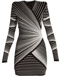 6e62b993abf Balmain - Structured Shoulder Stitched Stripe Mini Dress - Lyst
