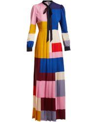 Mary Katrantzou - Duritz Colour-block Crepe De Chine Dress - Lyst