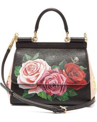 Dolce & Gabbana - Sicily Small Rose Print Dauphine Leather Bag - Lyst