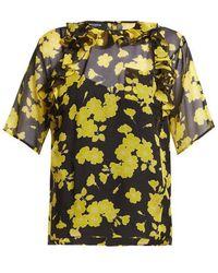 Rochas - Floral-print Silk-chiffon Blouse - Lyst