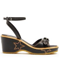 Stella McCartney - Linda Star-embroidered Faux-leather Sandals - Lyst
