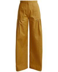 Duro Olowu - High-rise Wide-leg Cotton-denim Trousers - Lyst