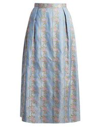 The Vampire's Wife - Origami Floral-embroidered Silk-jacquard Skirt - Lyst