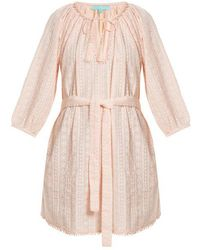 Melissa Odabash - - Alicia Waist Tie Embroidered Cotton Dress - Womens - Pink - Lyst