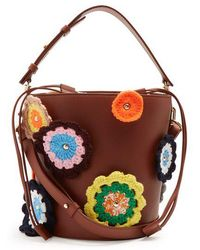 JW Anderson - Bucket Crochet Appliqué Leather And Canvas Tote - Lyst