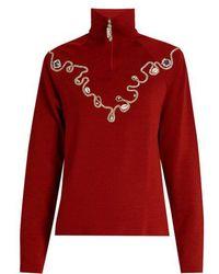 Wales Bonner - Karim Embellished Wool-blend Top - Lyst