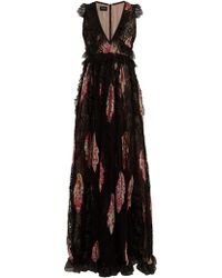 Giambattista Valli - Floral Print Lace Trimmed Silk Gown - Lyst