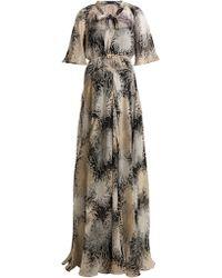 N°21 - Chrysanthemum Print Silk Chiffon Maxi Dress - Lyst