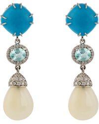 NSR Nina Runsdorf - Diamond, Turquoise, Opal & White-gold Earrings - Lyst