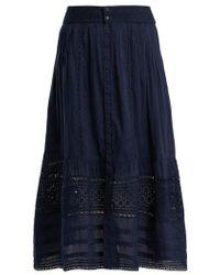 Sea - Embroidered Cotton Midi Skirt - Lyst