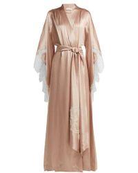 Carine Gilson - Lace Embroidered Silk Satin Robe - Lyst