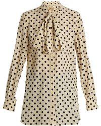 Burberry - Avocet Polka-dot Print High-neck Silk Shirt - Lyst