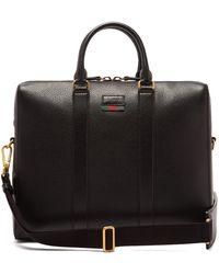 Gucci Web Stripe Leather Briefcase