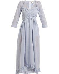 Isa Arfen - Wrap Front Striped-cotton Dress - Lyst