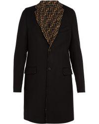 Fendi - Logo-lapel Wool-blend Coat - Lyst
