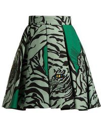 Valentino - Tiger-print Wool And Silk-blend Skirt - Lyst