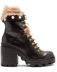 Gucci - Lace-up Leather Ankle Boots - Lyst