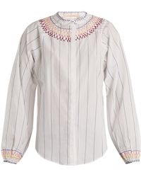 Bliss and Mischief - Smocked Pinstriped Cotton Blouse - Lyst