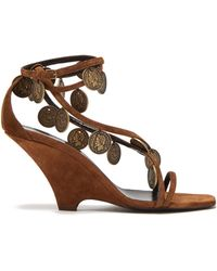 Saint Laurent - Kim Coin Embellished Suede Wedge Sandals - Lyst