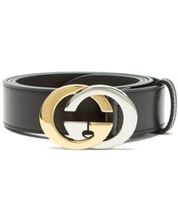 Gucci - Two Tone Metal Interlocking G Leather Belt - Lyst